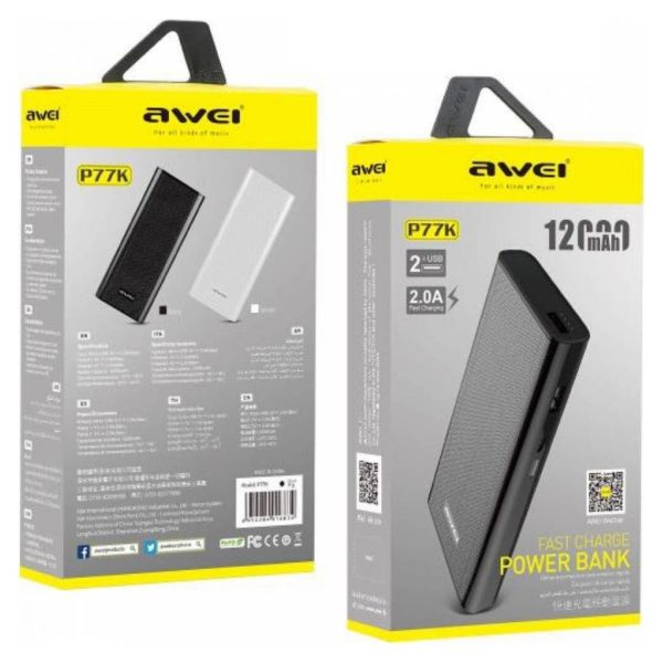 Power Bank Awei P77K 12000 мАч оптом