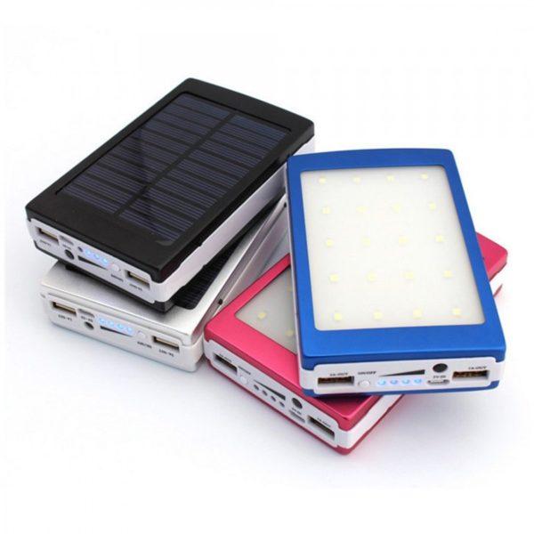 Внешний аккумулятор на солнечной батарее со светодиодным фонарем Solar power bank 20000 mAh оптом
