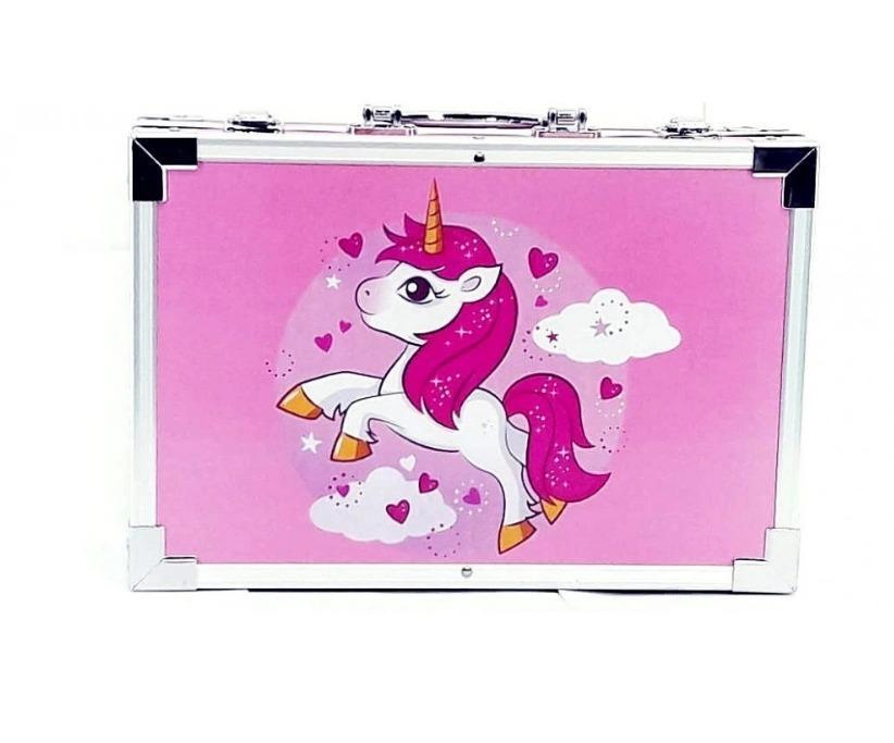 Набор для рисования в чемоданчике с единорогом розовый оптом